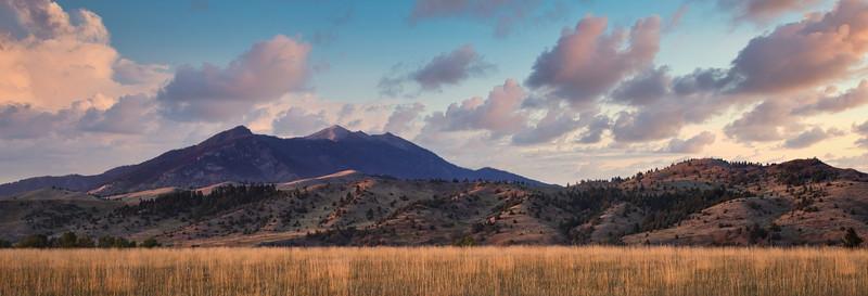 sunset at saddle peak - bozeman, mt