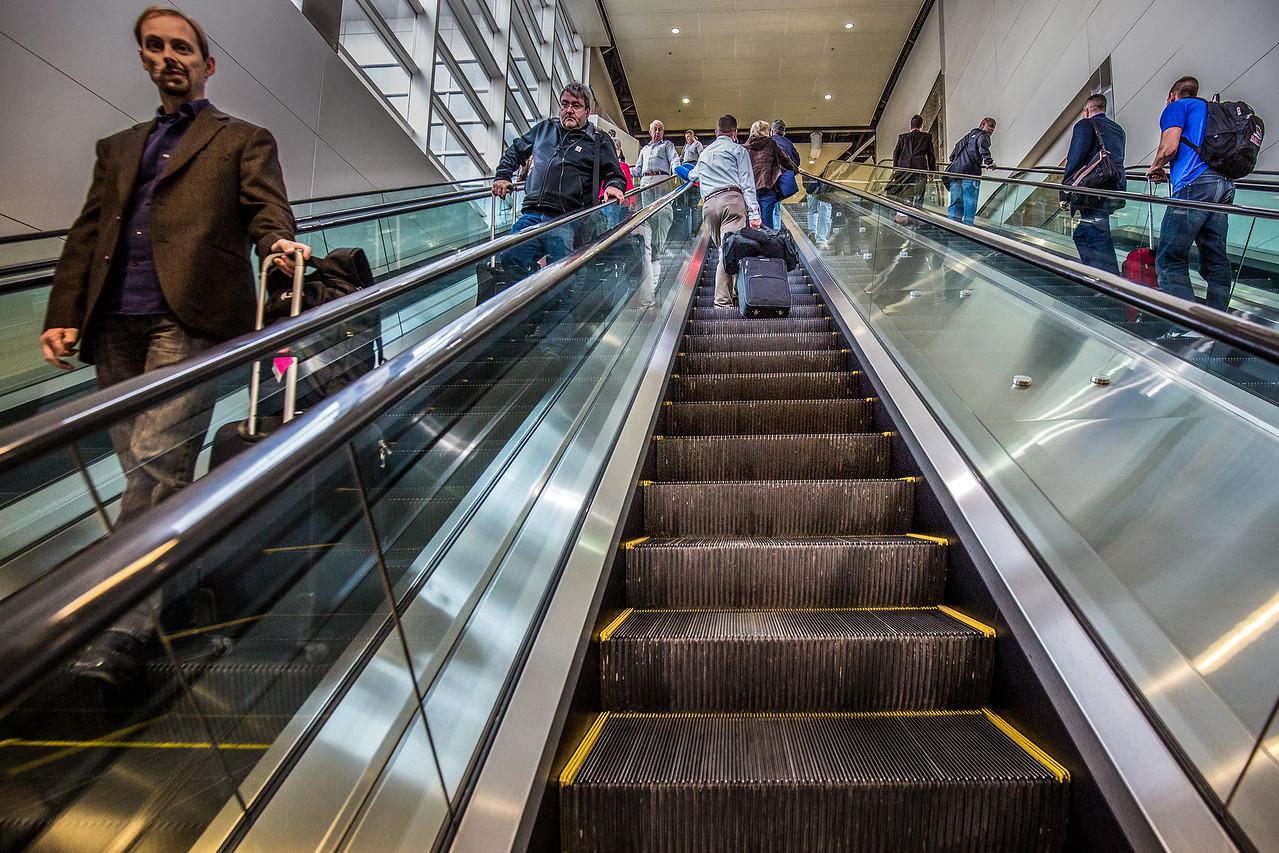 Escalator, Detroit Airport.