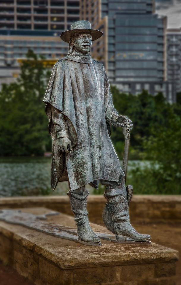 Statue of Stevie Ray Vaughn in Austin TX.