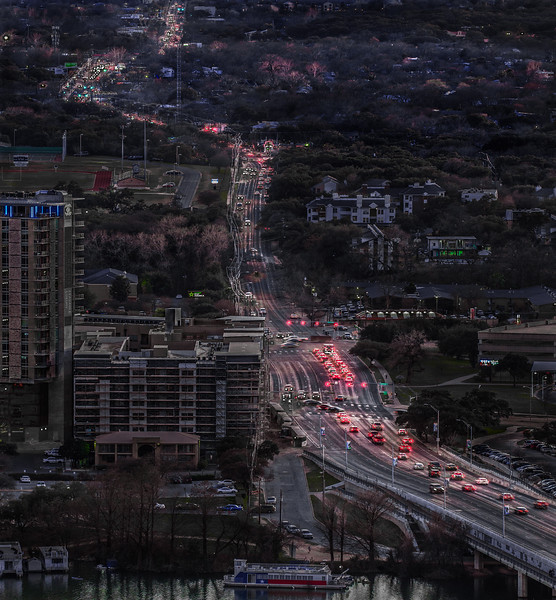 Evening Traffic over First Street Bridge, Austin