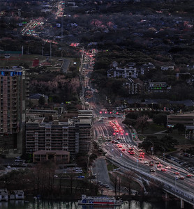 Evening Traffic over First Street Bridge, Austin