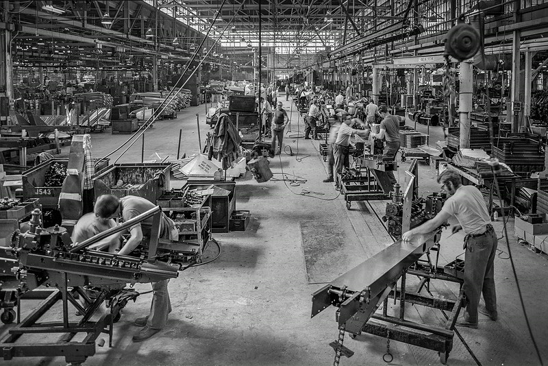 Avco New Idea Farm Equipment assembly line in mid 70's..
