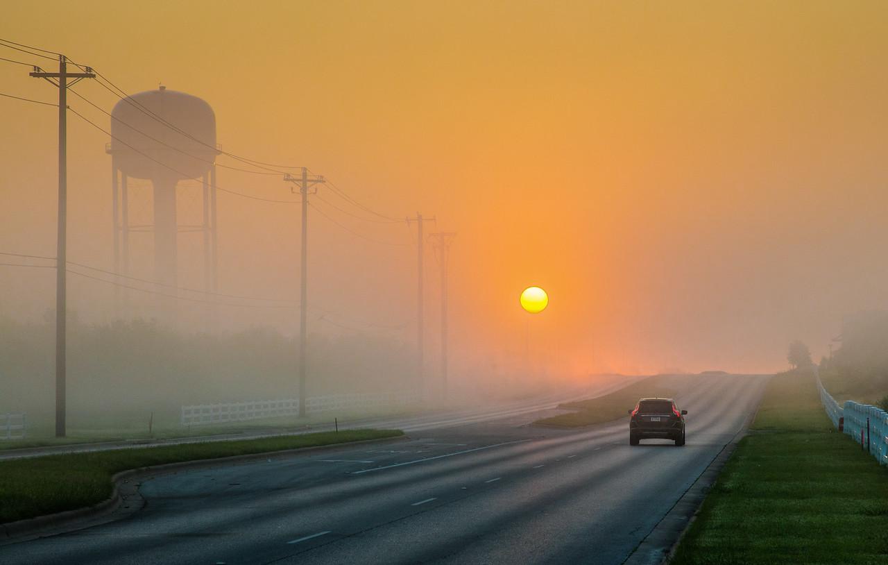 Foggy sunrise in Kyle TX