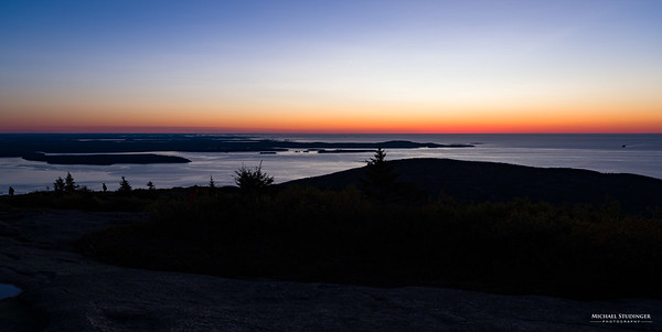 Sunrise on Cadillac Mountain in Acadia, Maine in 2017. The summit of Cadillac Mountain is the first place to see sunrise in the United States.