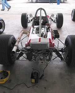 Formula car in the garage