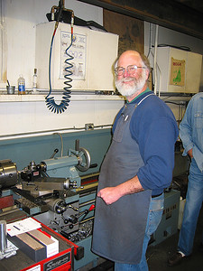Mike at the lathe