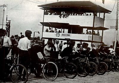 Starting Lineup for the First Moto Race at Indy in 1909