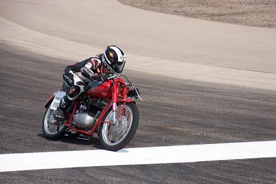 Jarl Wathne on track on his Bonneville LSR bike