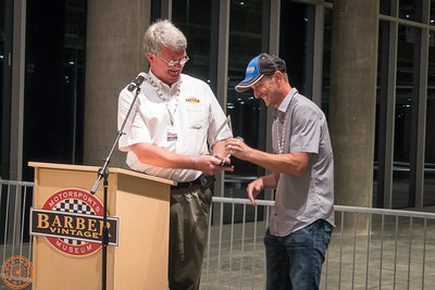 Jeff Ray presenting Colin Edwards with an award