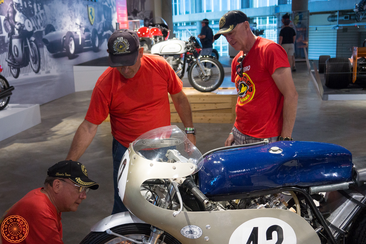 Juan Bulto (on right) checking out a Russian bike