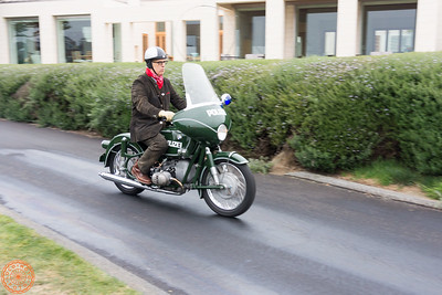 Peter Nettesheim riding in on his 1969 Police R69/2