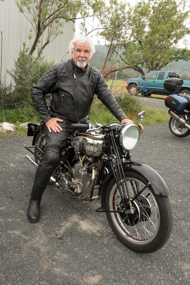 Me on Peter Allen's 1936 HRD Series A Comet