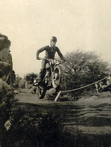 John Lang airborne on his Scrambler at Toft Hill 1960