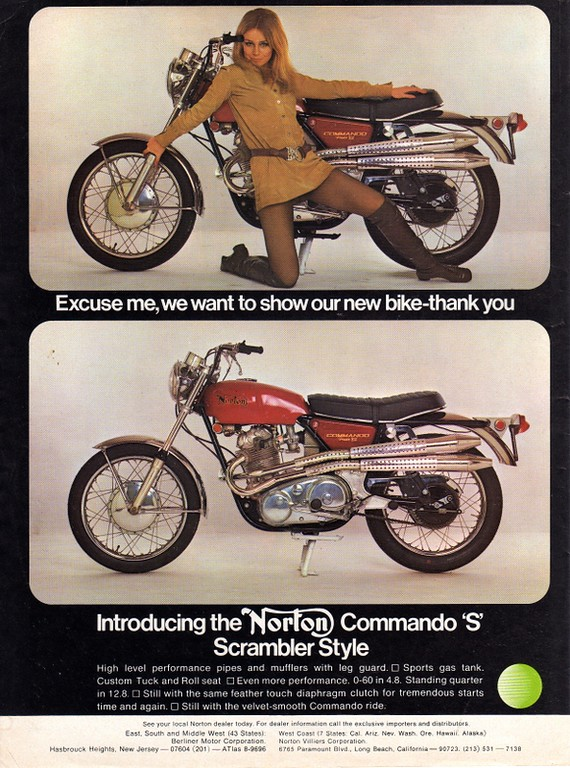 "One of the famous ""Norton Girl"" ads"