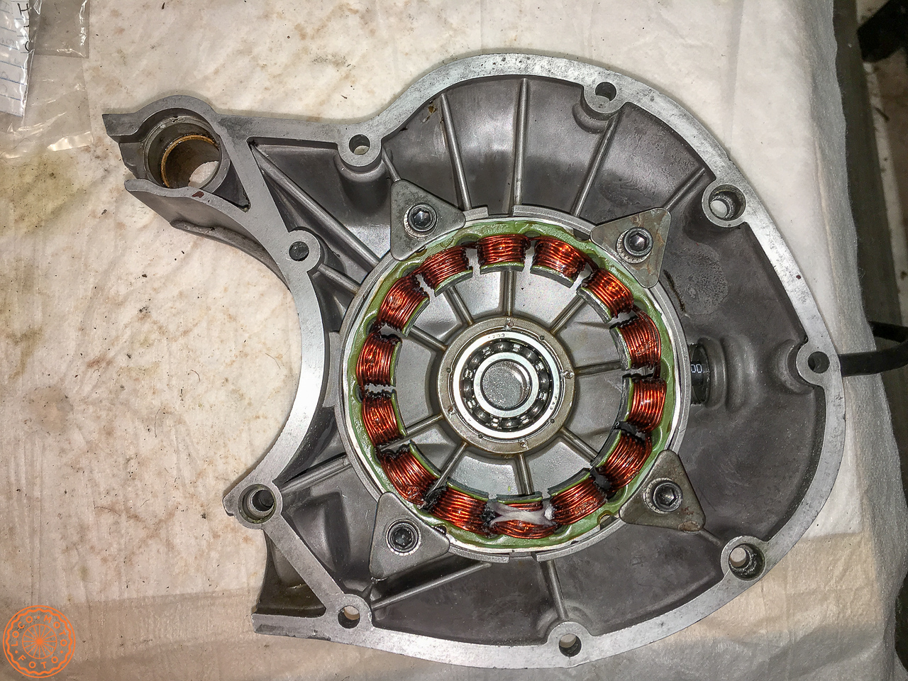 Rewound stator back in the case