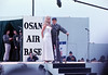 Bob Hope USO Show: Bob Hope, Penelope Plumber (Miss World 1968) - December 19th, 1968 Osan Air Base, South Korea. Kodak Ektachrome. Konica AutoReflex T