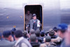 Bob Hope USO Show: Bob Hope getting off the plane at Osan - December 19th, 1968 Osan Air Base, South Korea. Kodak Ektachrome. Konica AutoReflex T