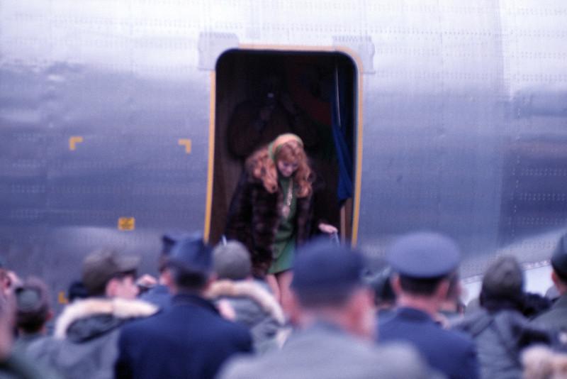 Bob Hope USO Show: Ann Margret getting off the plane at Osan - December 19th, 1968 Osan Air Base, South Korea. Kodak Ektachrome. Konica AutoReflex T