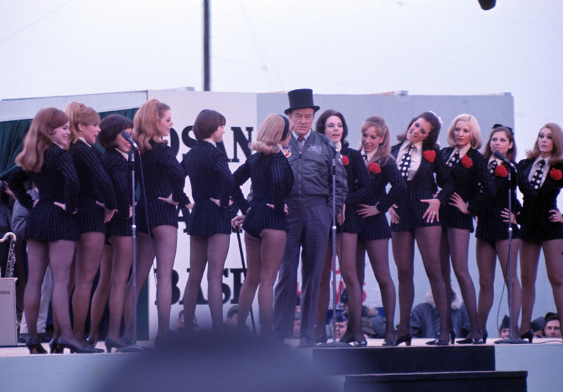 Bob Hope USO Show: Bob Hope and the Golddiggers - December 19th, 1968 Osan Air Base, South Korea. Kodak Ektachrome. Konica AutoReflex T