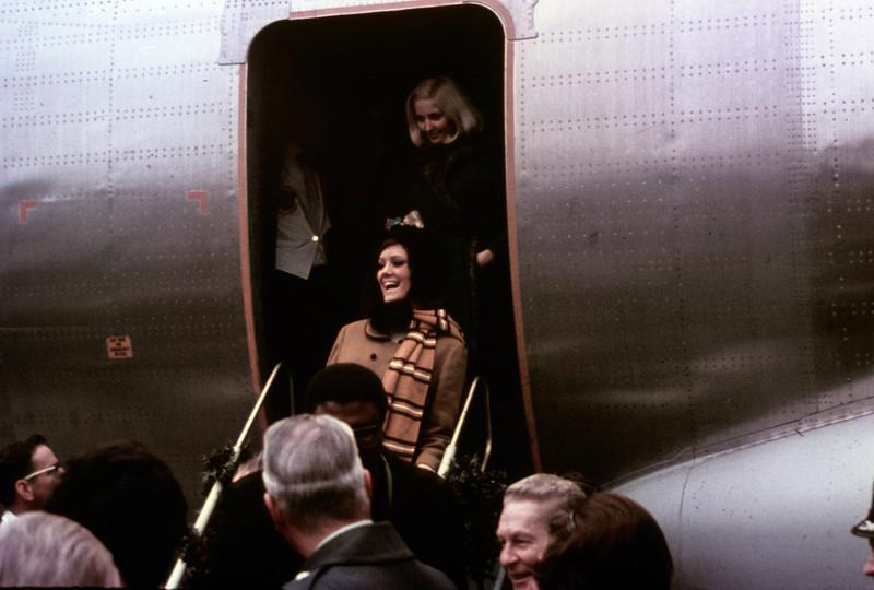 Bob Hope USO Show: Elaine Dunn?? getting off the plane at Osan. - December 19th, 1968 Osan Air Base, South Korea. Kodak Ektachrome. Konica AutoReflex T