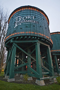 """Port Gamble"" Washington water tower harbor fall Christmas lights morning light historical lumber mill"