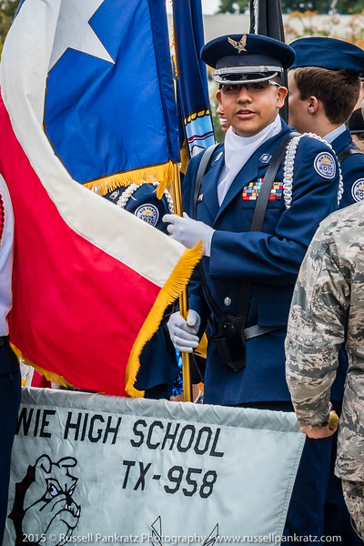Henry Cardeñas (usually under a Sousaphone) carried the Texas Colors with the Bowie Junior ROTC members.
