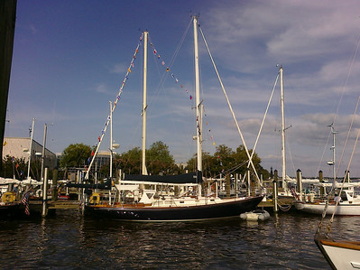 A Hinckley Bermuda 40 at the National Sailing Hall of Fame docks (http://nshof.org/) in Annapolis, MD during a week's tour of the Chesapeake Bay by the owners association. Nine boats were present, including the first and last hulls. (Photo taken with a Palm Pre)