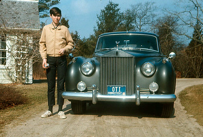 Rick standing by Dad's 1956 S-1 Silver Cloud at the Green House, Cape Cod, late 1960s.