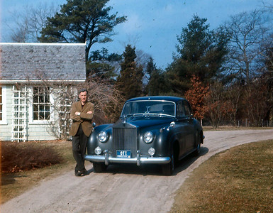 Dad standing by his 1956 S-1 Silver Cloud at the Green House, Cape Cod, late 1960s.