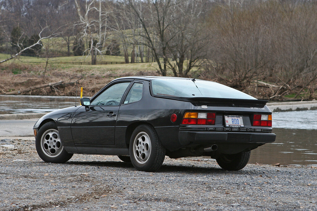 1987 Porsche 924S on the east bank of the Shenandoah River in Virginia. Behind the car is a low water bridge on Morgan Ford Road. November 11, 2007