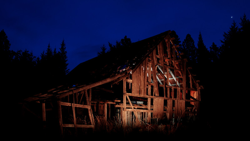 old barn painted with light2