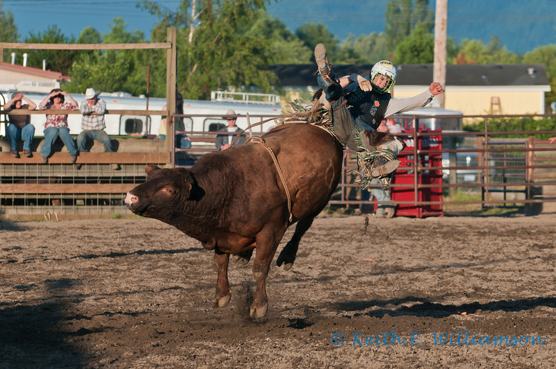 Being launched, during bull riding