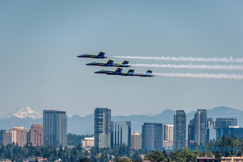 Blue Angels, with Bellevue and Glacier Peak