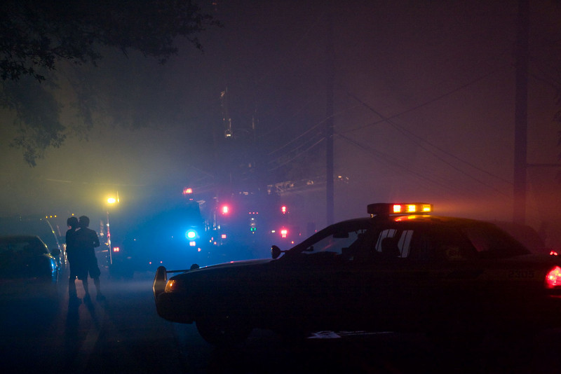 So, as soon as I get within site of emergency vehicles, lights, smoke and fantastic atmospherics... what do I get but a young couple making-out.  Love isn't blind -- it's retarded.