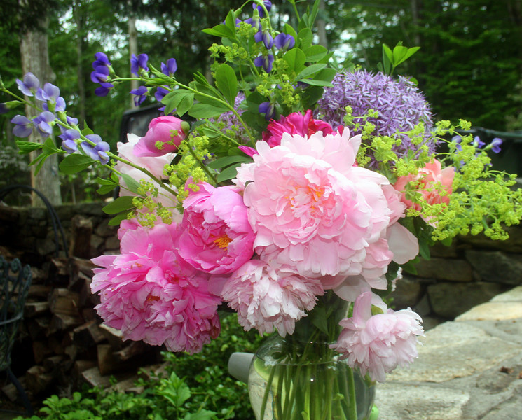 June bouquet - peonies, iris, ladie's mantle and allium