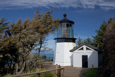 The lighthouse at Cape Meares marks the entrance to Tillamook Bay.