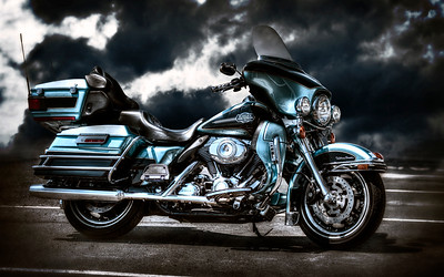 Brown and Blue Harley Chrome Color