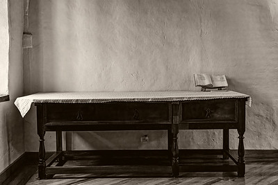 Table in Monastary Quito B&W Copyright 2020 Steve Leimberg UnSeenImages Com _DSC1500