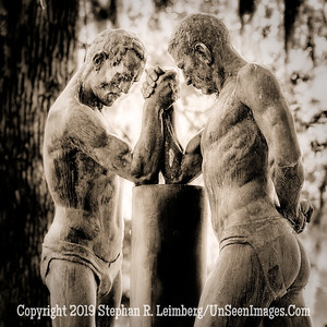 Hand Wrestling at Frank Llyod Wright House - B&W -  Copyright 2017 Steve Leimberg UnSeenImages Com_DSF8400