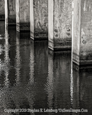 Bridge Pillars B&W - Copyright 2016 Steve Leimberg - UnSeenImages Com L1000102