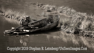 Boat in Water - B&W Copyright 2018 Steve Leimberg UnSeenImages Com _Z2A4433