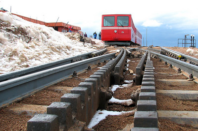 Pikes Peak Cog railway  Colorado elevation 14110 ft.  or 4300 m.