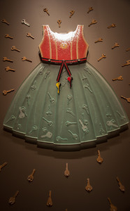 Dress for Success  by Susie Krasnican enemals, glass ans found objects Renwick Gallery Washington DC