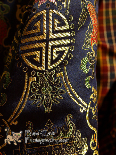 Embroidery on a Bhutanese woman's robe.