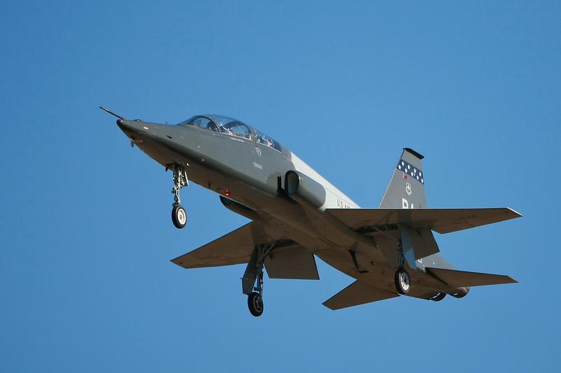 T-38 Talon trainer coming in for landing in San Antonio.