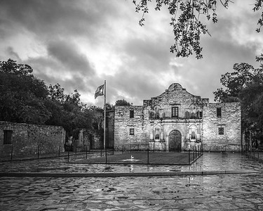 The Alamo on a Rainy Morning