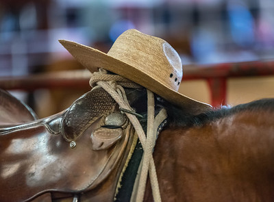 Cowboy Hat on Saddle Horn