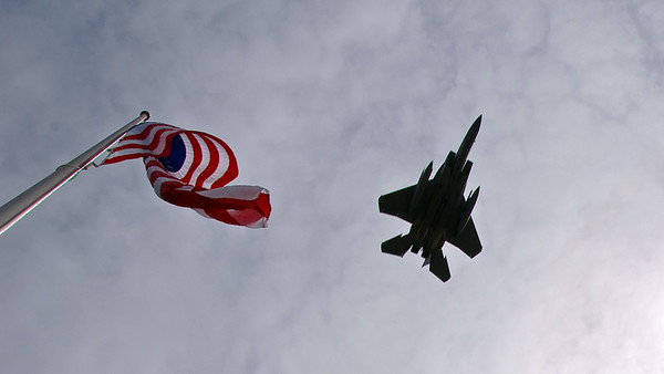 Flag and F15A Jet Flyover