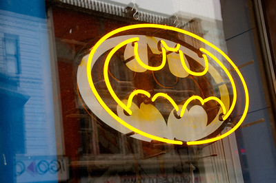Batman!  This neon is in the window of a comic books store.