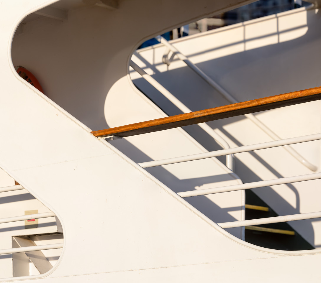 Detail of a ship berthed at Harbourfront, Toronto.<br /> 58 x 51 in.